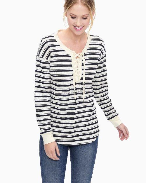 【经典好穿】Splendid 条纹系带针织衫 (约401元) - 海淘优惠海淘折扣 55海淘网