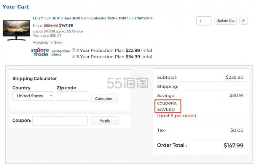 LG 27MP59HTP 27英寸 IPS 全高清显示屏 7.99(约1,014元) - 海淘优惠海淘折扣|55海淘网