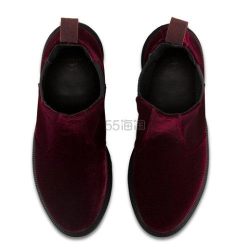 【上新】Dr. Martens 酒红色丝绒切尔西靴