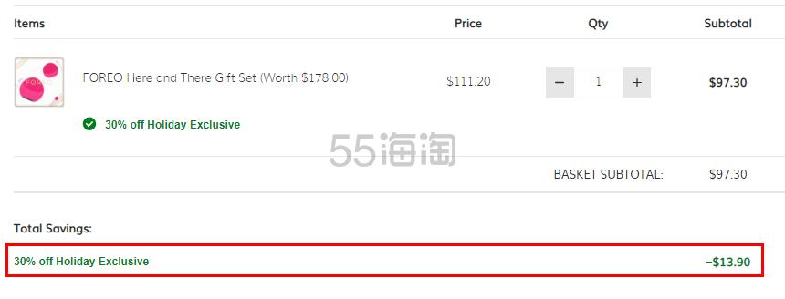 FOREO 经典热卖mini 2 代洗脸仪+LUNA PLAY 套装 .3(约670元) - 海淘优惠海淘折扣|55海淘网
