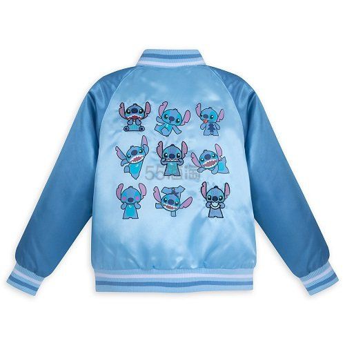 Disney 迪士尼 史迪奇印花儿童缎面棒球夹克衫 可定制刺绣名字 .98(约83元) - 海淘优惠海淘折扣|55海淘网