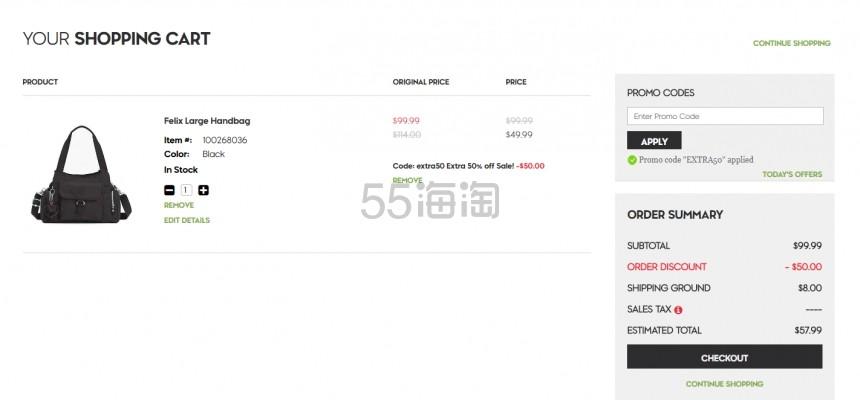 【低至2.5折白菜价!】Kipling:精选 时尚箱包 低至5折+额外5折 - 海淘优惠海淘折扣|55海淘网