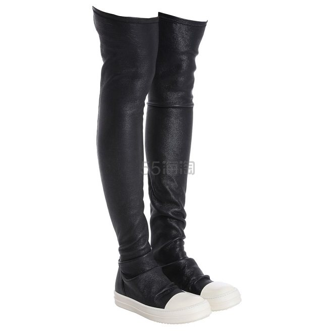 Rick Owens 黑色皮质过膝运动靴 €764.34(约5,962元) - 海淘优惠海淘折扣|55海淘网