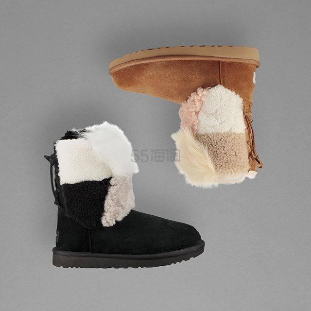 UGG 18新款 拼接毛绒绑带雪地靴