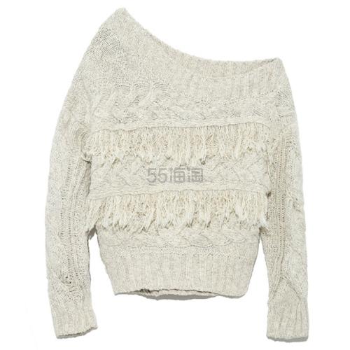 Lily Brown 半露肩麻花流苏针织毛衣 3色可选 10,584日元(约656元) - 海淘优惠海淘折扣|55海淘网