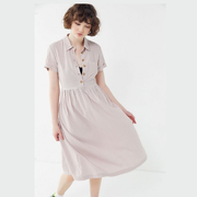 UO Laila Seersucker Midi Shirt Dress 格纹连衣裙