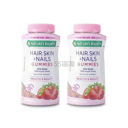 【包邮装】Natures Bounty 自然之宝 头发皮肤指甲胶原蛋白软糖 230粒*2瓶 .8(约267元) - 海淘优惠海淘折扣|55海淘网