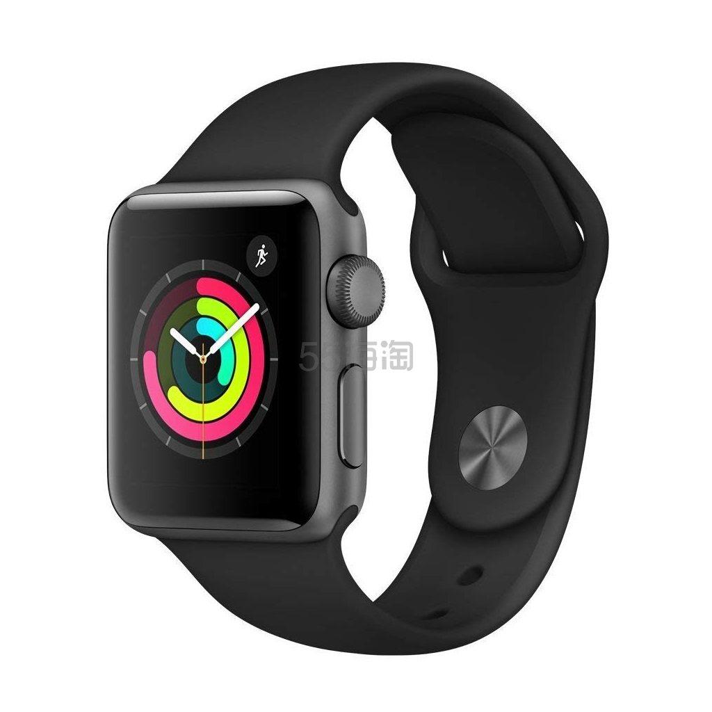 银色/黑色好价!Apple Watch Series 3 苹果手表 GPS版 38mm 铝合金运动款