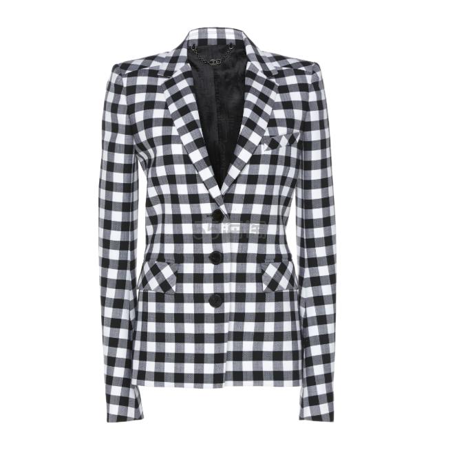 Paco Rabanne 黑白格纹垫肩西装外套 ,150(约7,712元) - 海淘优惠海淘折扣 55海淘网