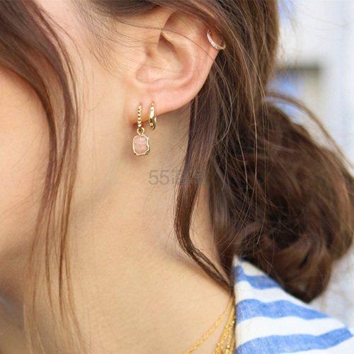 Missoma 18ct 镀金迷你不规则玫瑰石波纹圆环耳环 £57.8(约515元) - 海淘优惠海淘折扣|55海淘网