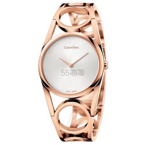 【中亚Prime会员】Calvin Klein 卡尔文·克雷恩 Round 系列 玫瑰金色女士时装腕表 K5U2S646