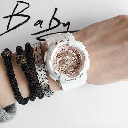【55专享】补货!Casio 卡西欧 Baby G 系列 玫瑰金白色女士运动腕表 BA110-7A1