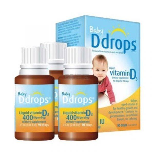 【免邮装】单瓶到手93元!Ddrops 婴幼儿维生素D3滴剂 400IU 90滴*3瓶 .49(约280元) - 海淘优惠海淘折扣|55海淘网