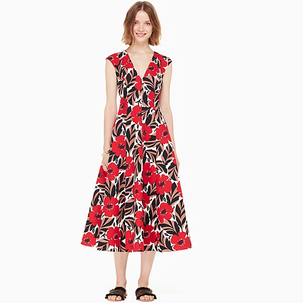 7折!Kate Spade Poppy Field Structured Dress 印花连衣裙