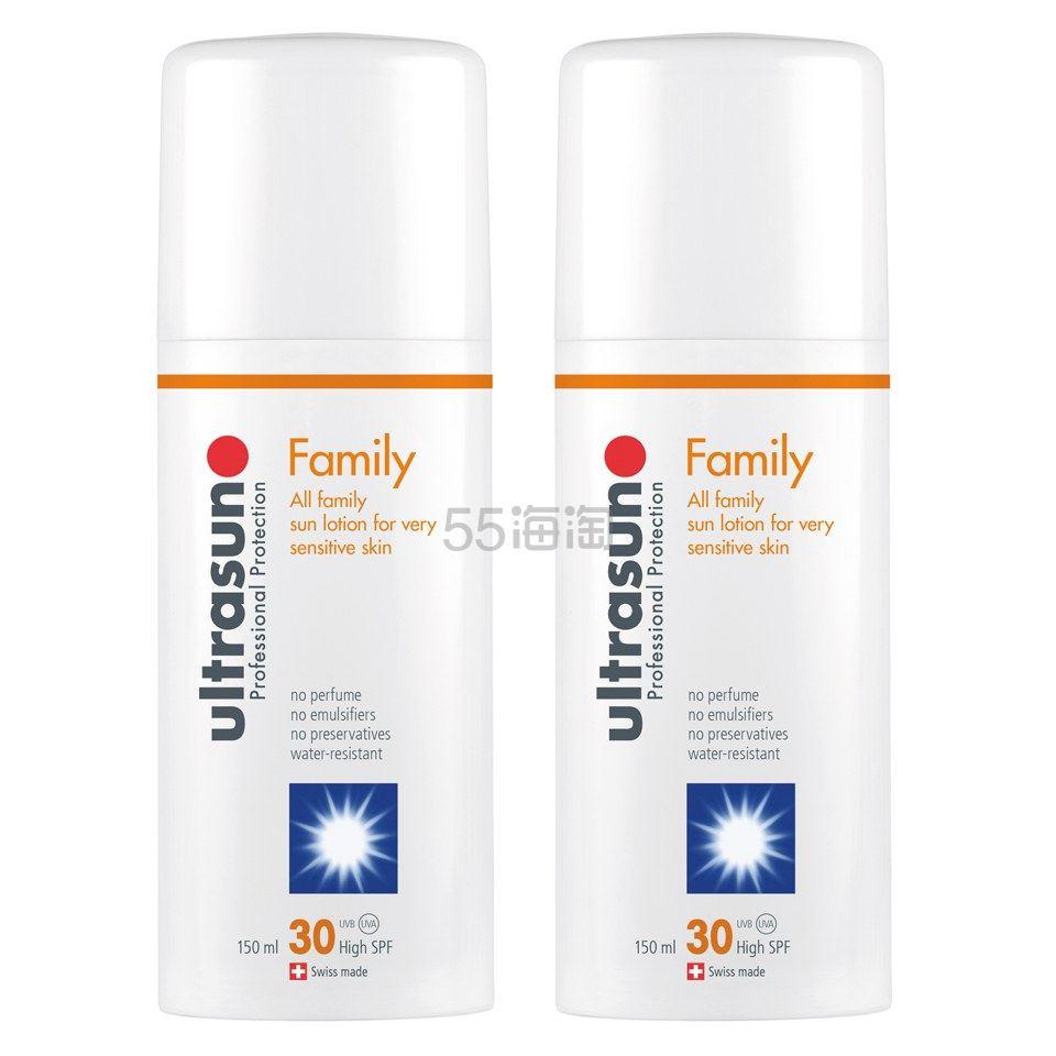 Ultrasun 优佳 家庭敏感肌防晒乳液 150ml*2瓶 SPF30 £35(约307元) - 海淘优惠海淘折扣|55海淘网
