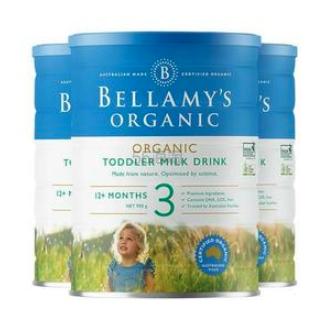 【包邮装】Bellamys 贝拉米婴幼儿配方奶粉 3段 900g*3罐 140纽币(约627元) - 海淘优惠海淘折扣|55海淘网