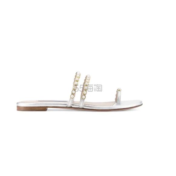 Stuart Weitzman 银色细带拖鞋 6.25(约1,995元) - 海淘优惠海淘折扣|55海淘网
