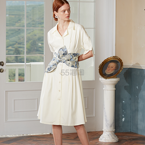 Even Vintage 提花腰封花瓣袖复古连衣裙 ¥446 - 海淘优惠海淘折扣|55海淘网