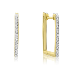 SZUL 钻石金色方形耳环