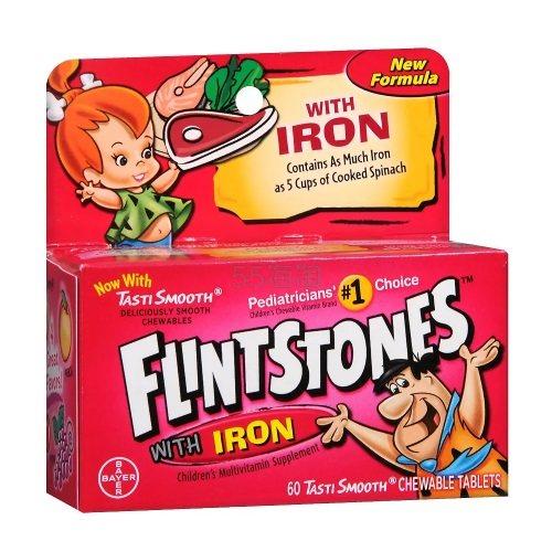 Bayer 拜耳 Flintstones 幼儿维生素+铁咀嚼片 橙子口味 60片 .74(约47元) - 海淘优惠海淘折扣|55海淘网