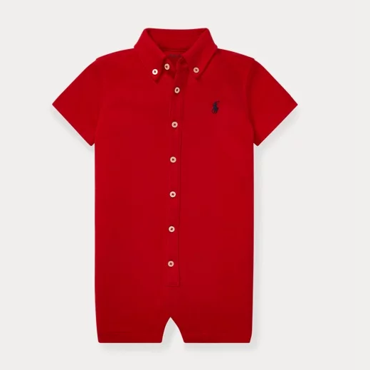Ralph Lauren Cotton Interlock Shortall 婴儿连体衣