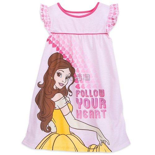 Disney 迪士尼 贝儿公主女孩粉色连衣裙睡衣