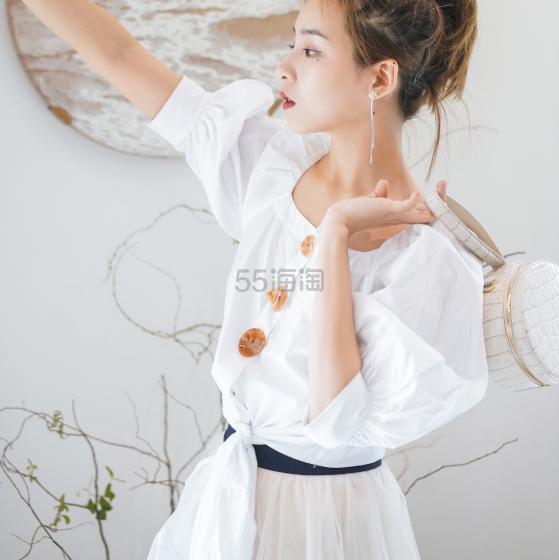 HOWL 设计师白色方领泡泡袖绑带上衣 ¥339 - 海淘优惠海淘折扣|55海淘网