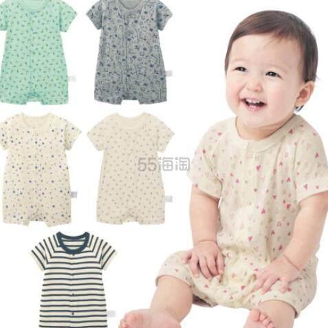 GITA basic 短袖连体可开裆婴儿服 多色 码全 日元990(约63元)+2件9.5折/3件9折 - 海淘优惠海淘折扣|55海淘网