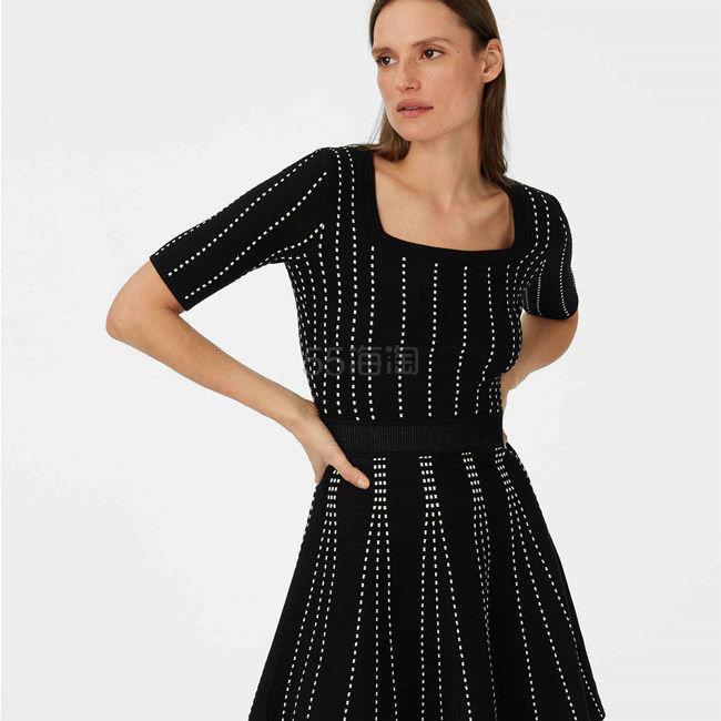 Club Monaco 超显瘦条纹短袖针织连衣裙