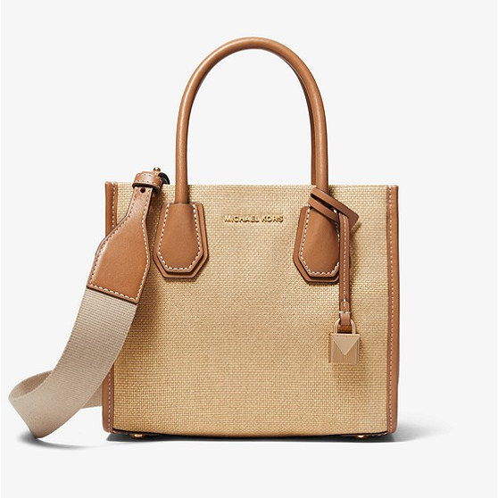 Michael Kors Mercer Metallic Canvas 风琴单肩包