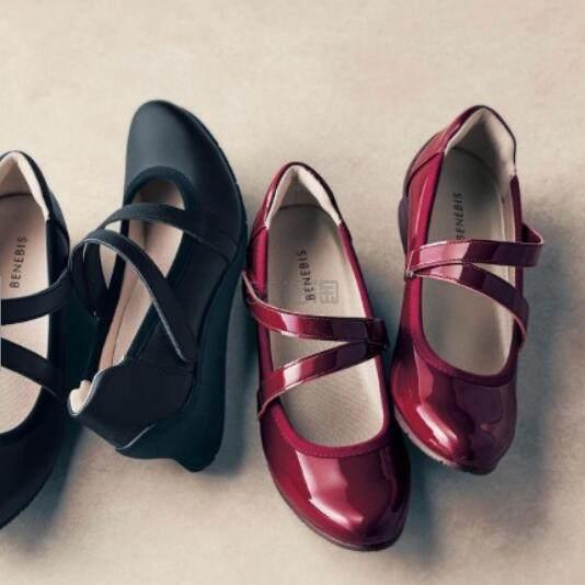 BENEBIS 日系洛丽塔风格坡跟皮鞋 多色 码全