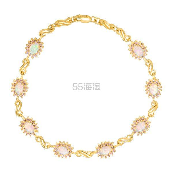 FINECRAFT 1 1/2 CT 蛋白石&粉蓝宝石手链