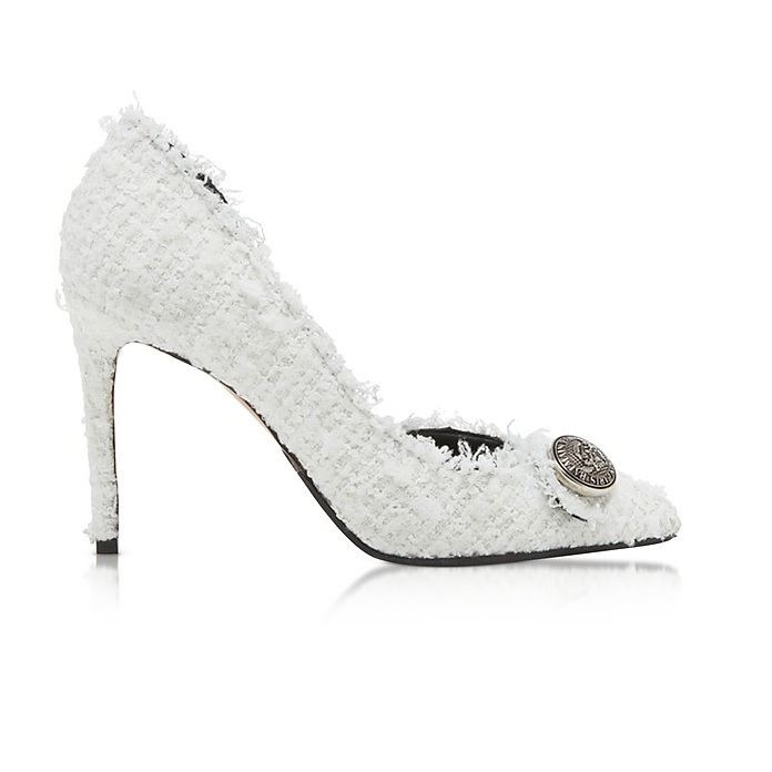 Balmain White Tweed 95MM Julie 白色花呢高跟鞋