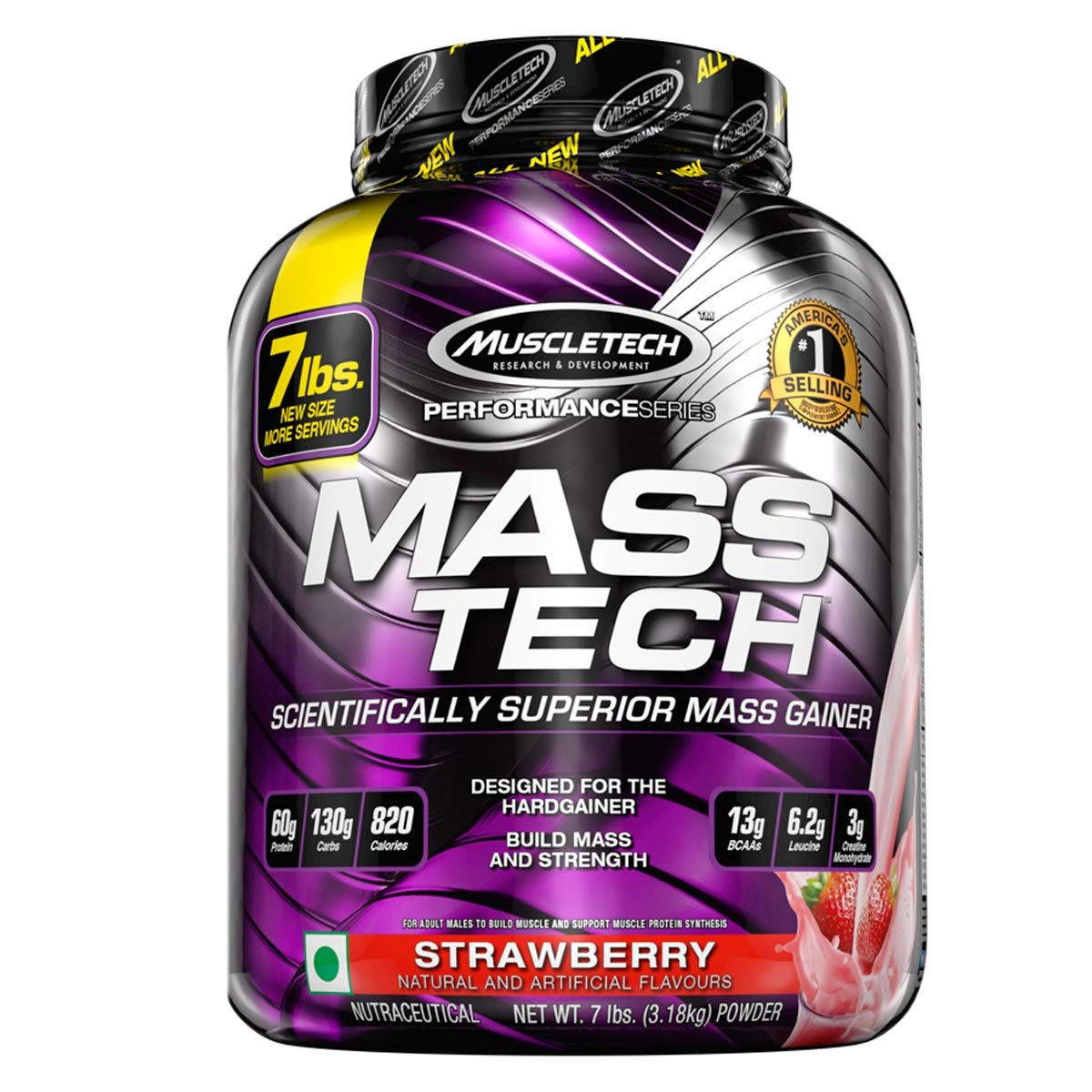 【中亚Prime会员】Muscletech Mass-Tech 高级健身增肌粉 草莓味 3.18kg