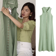 【Sunnie 同款】Mango Buttoned Linen-blend Dress 抹茶绿无袖连衣裙