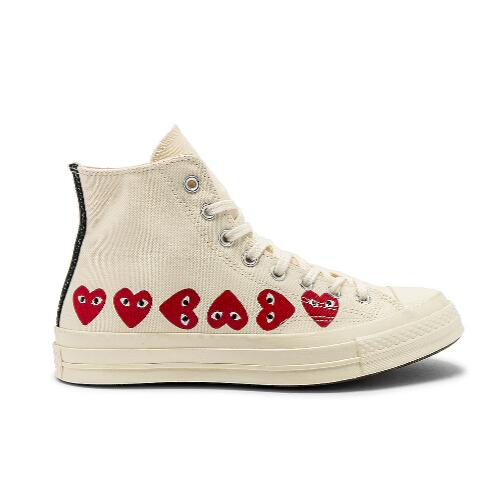 补货上架,码全~COMME DES GARCONS PLAY EMBLEM HI TOP 中性款帆布鞋