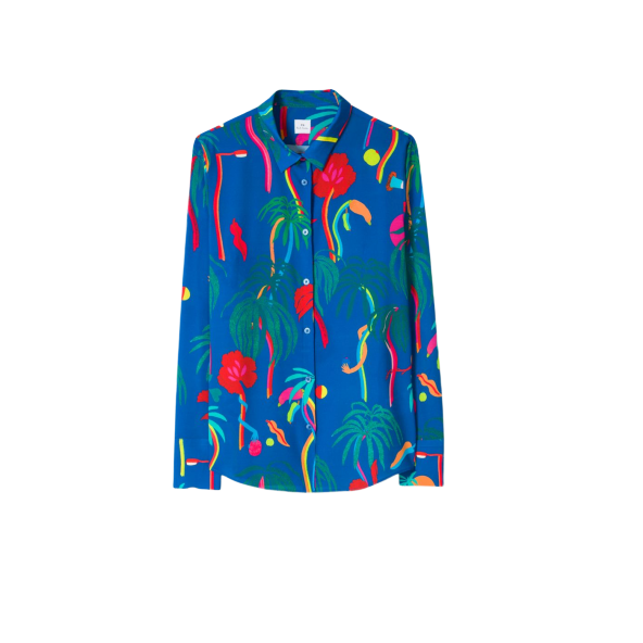 低至5折!Paul Smith Cobalt Blue 'Urban Jungle' Print Shirt 女士印花衬衫