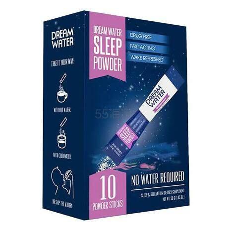 【限时8折】Dream Water Sleep Powder 助睡粉睡眠水冲剂褪黑素 10袋 .99(约55元) - 海淘优惠海淘折扣|55海淘网