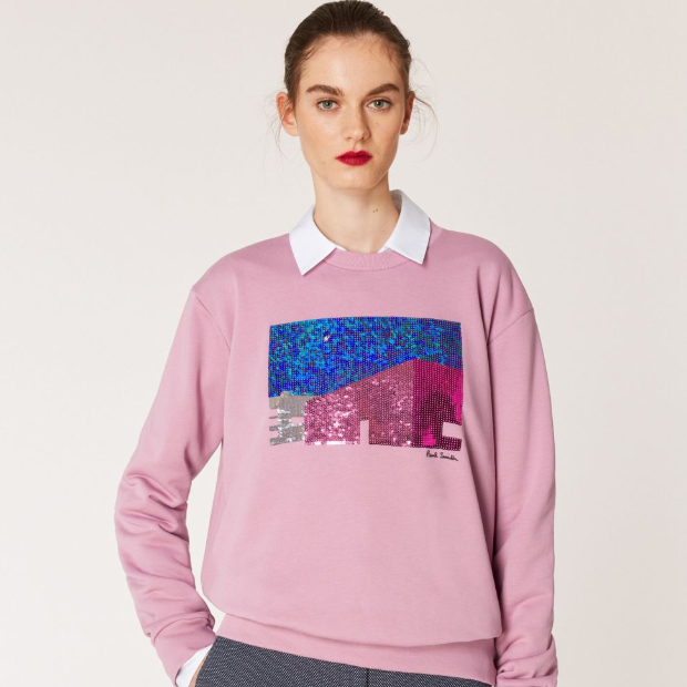 Paul Smith Dusky Pink Sequin 'LA Wall' 女士烟粉卫衣