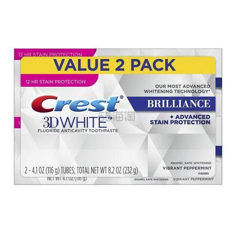 【买3付2】佳洁士 3D炫白 Brilliance 美白牙膏 薄荷味 116g*2 .99(约55元) - 海淘优惠海淘折扣|55海淘网
