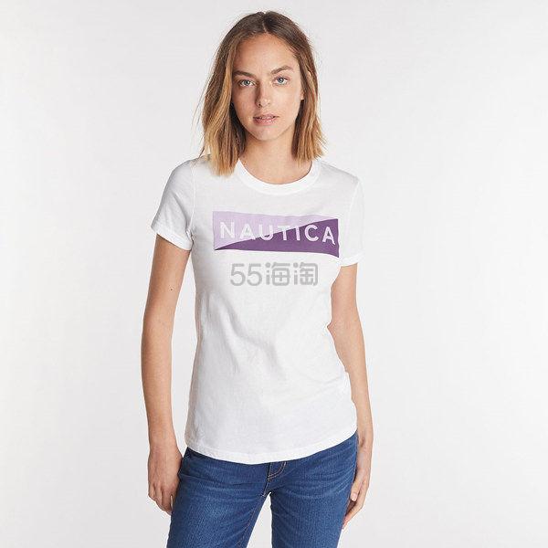 Nautica 基础 Logo 印花女士短袖T恤 .7(约122元) - 海淘优惠海淘折扣|55海淘网