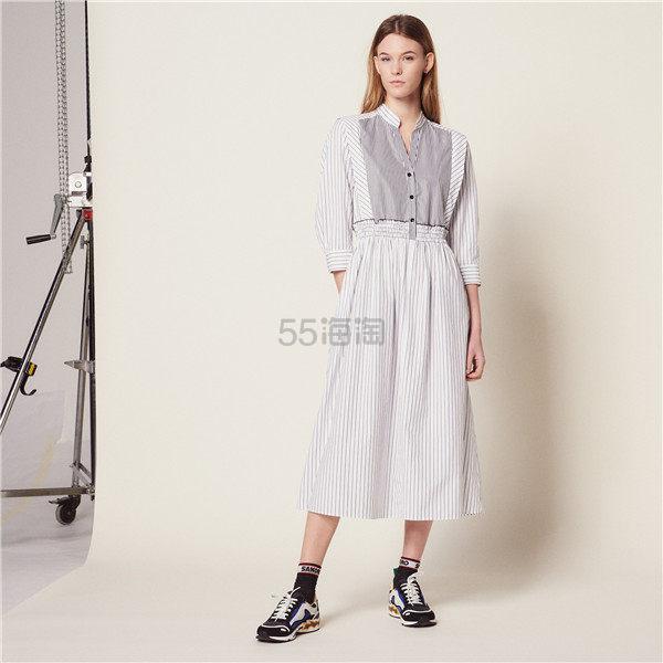 Sandro 条纹拼接迷笛连衣裙 5(约1,272元) - 海淘优惠海淘折扣|55海淘网