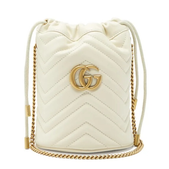 GUCCI GG Marmont 白色水桶包
