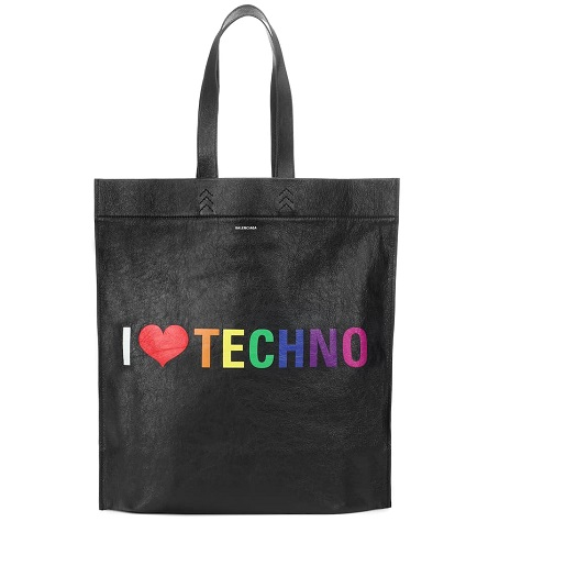 "BALENCIAGA ""I Love Techno"" 黑色购物袋"