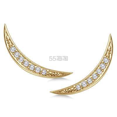 SZUL 1/8 克拉 14k 黄金钻石月牙形耳钉