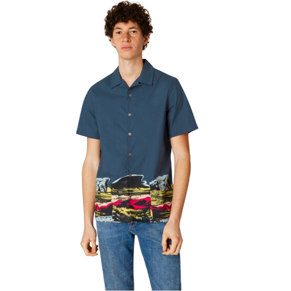Paul Smith Short-Sleeve Shirt With 'Harold's Landscape' Print Hem Detail 男士修身衬衫