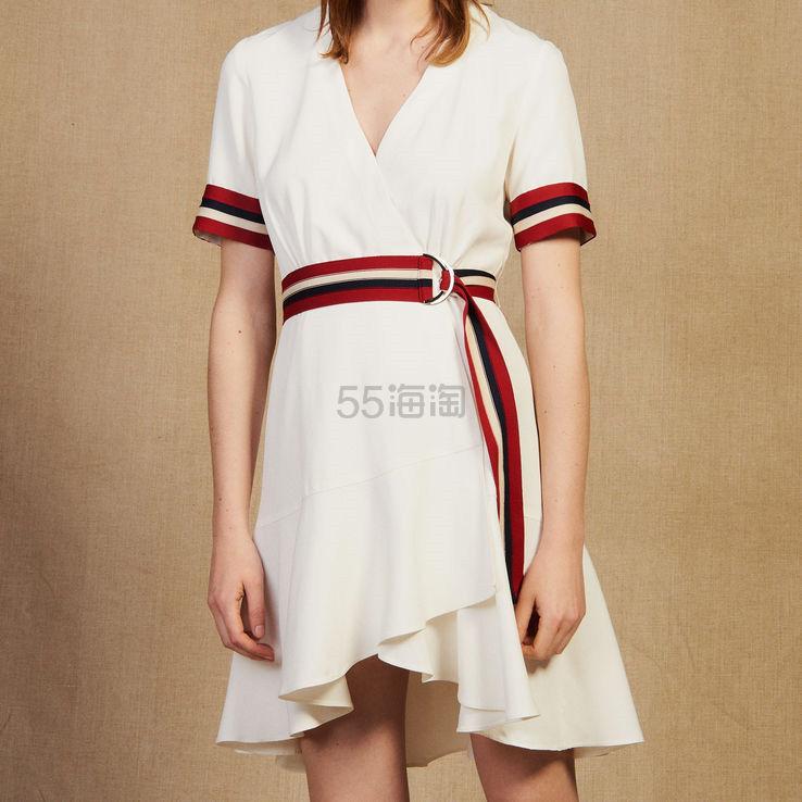 Sandro 优雅撞色边短袖连衣裙 6.5(约1,902元) - 海淘优惠海淘折扣|55海淘网