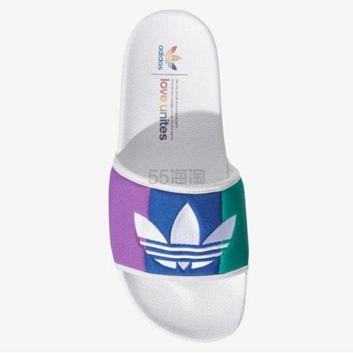 【最低额外7.5折】adidas Originals 三叶草 Adilette 女子澡堂拖 Pride 彩虹系列 .75(约232元) - 海淘优惠海淘折扣|55海淘网