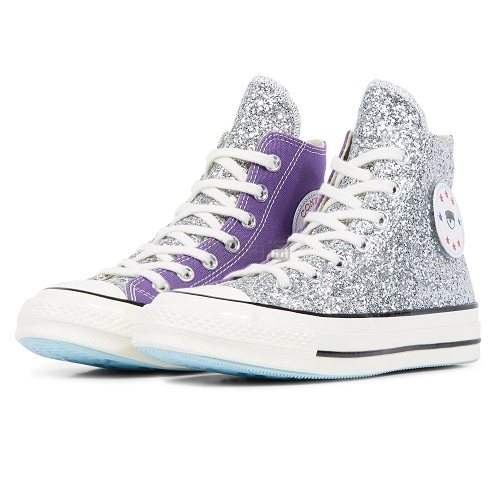 还有码!Converse x Chiara Ferragni 联名款 Chuck 70 银紫色拼接闪片高帮鞋