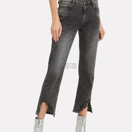 Frame 裤脚破洞中高腰牛仔裤